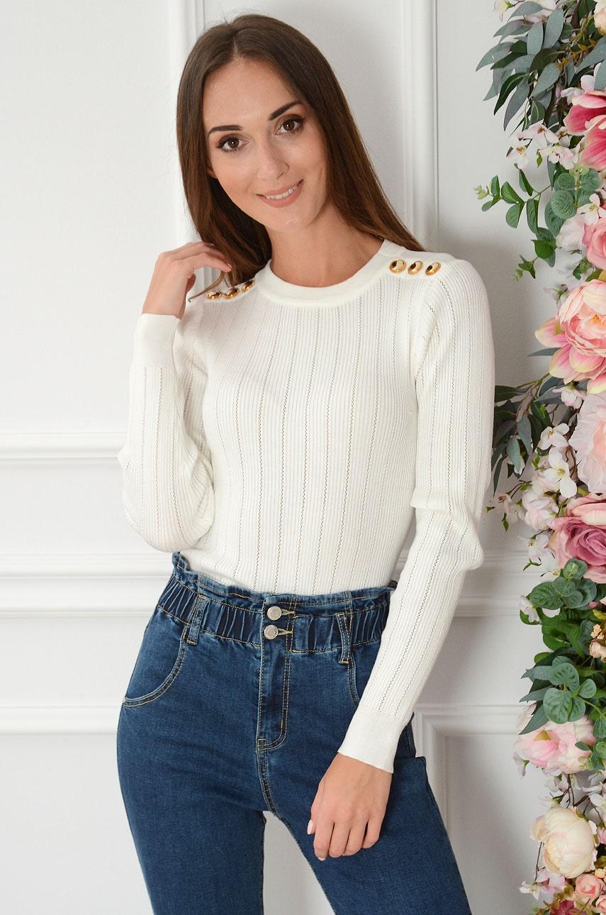 Bluzka sweterkowa ażurowa złote guziki kremowa Tiwi Rozmiar: UNI