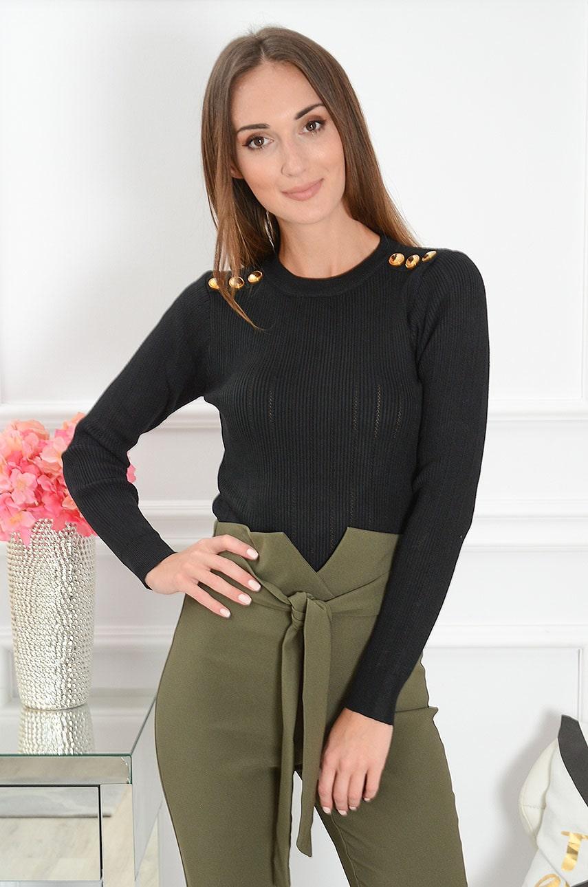 Bluzka sweterkowa ażurowa złote guziki czarna Tiwi Rozmiar: UNI