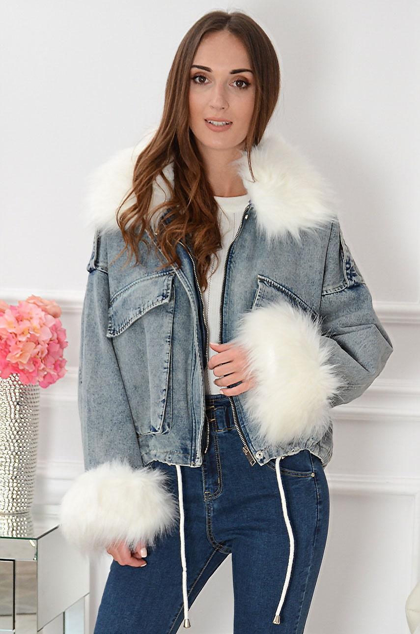 Krótka kurtka jeansowa oversize z futrem Minilya Rozmiar: M