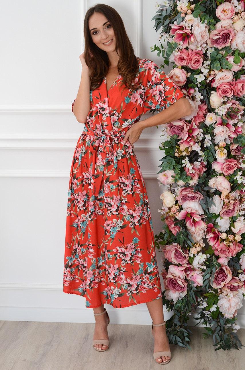Sukienka maxi z wiązaniem w lilie czerwona Launa Rozmiar: UNI