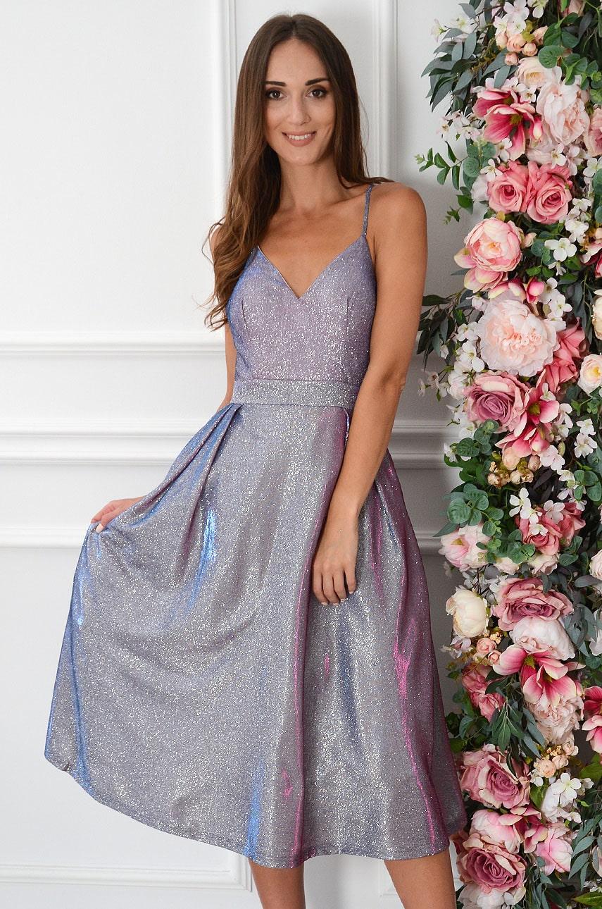 Sukienka rozkloszowana holograficzna granat-fuksja Annet Rozmiar: M