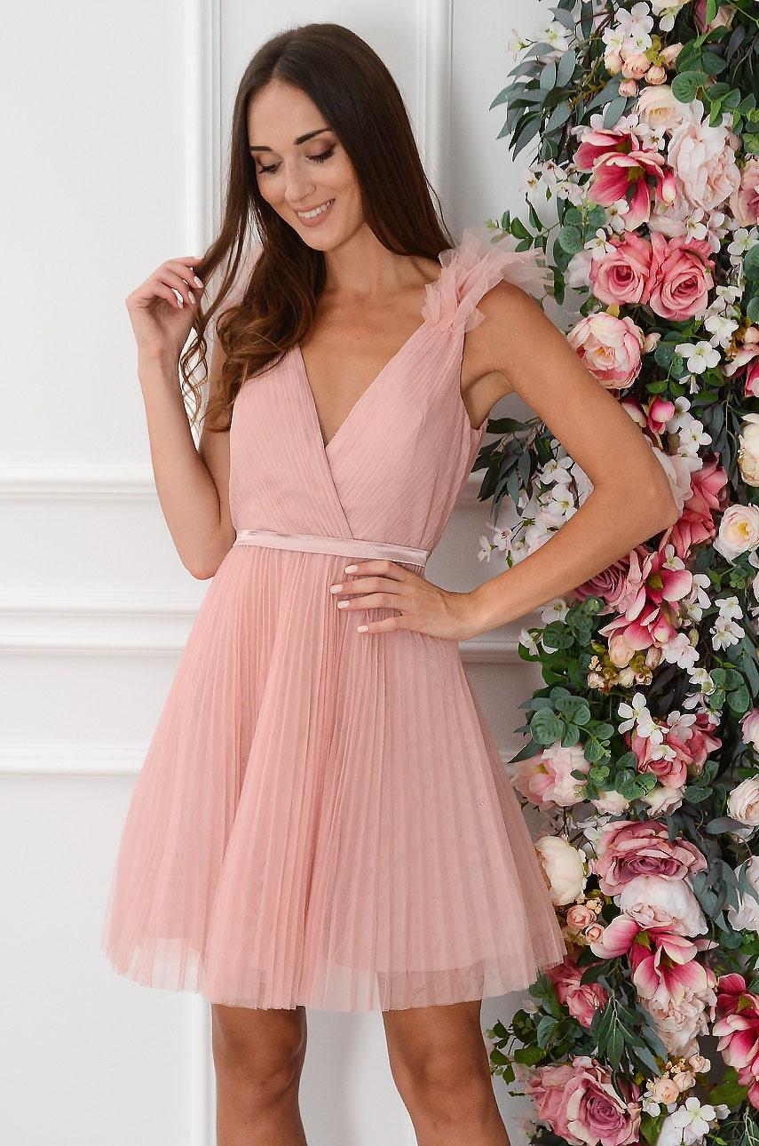 Sukienka z tiulu plisowana dekolt V retro róż Sancy Rozmiar: L