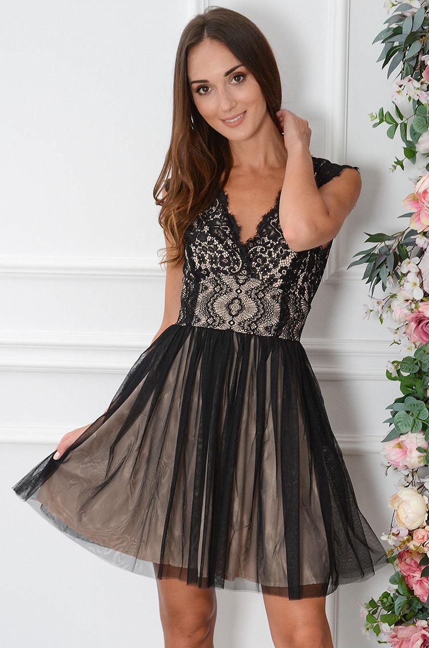 Sukienka z koronki i tiulu kopertowy dekolt czarno-beżowa Cezire Rozmiar: S