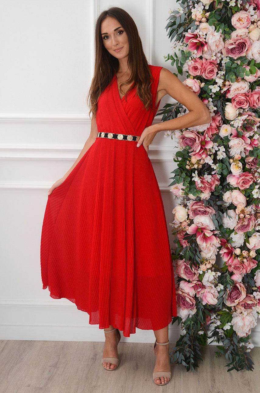 Sukienka maxi plisowana czerwona Zoja Rozmiar: UNI