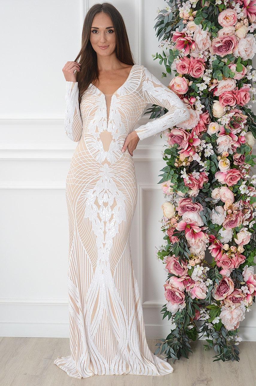 Sukienka maxi długi rękaw z cekinami biało-beżowa Ashley Rozmiar: S