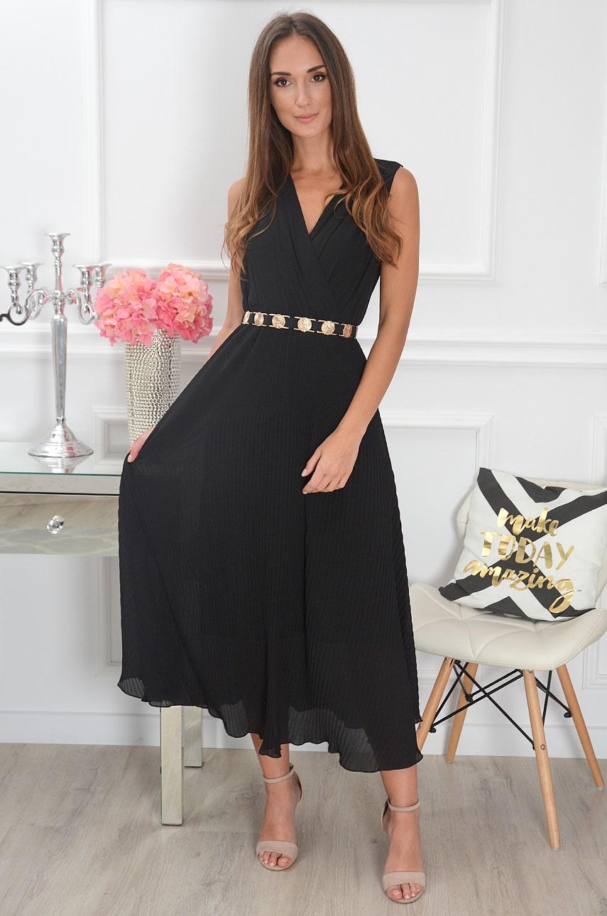 Sukienka maxi plisowana czarna Zoja Rozmiar: UNI