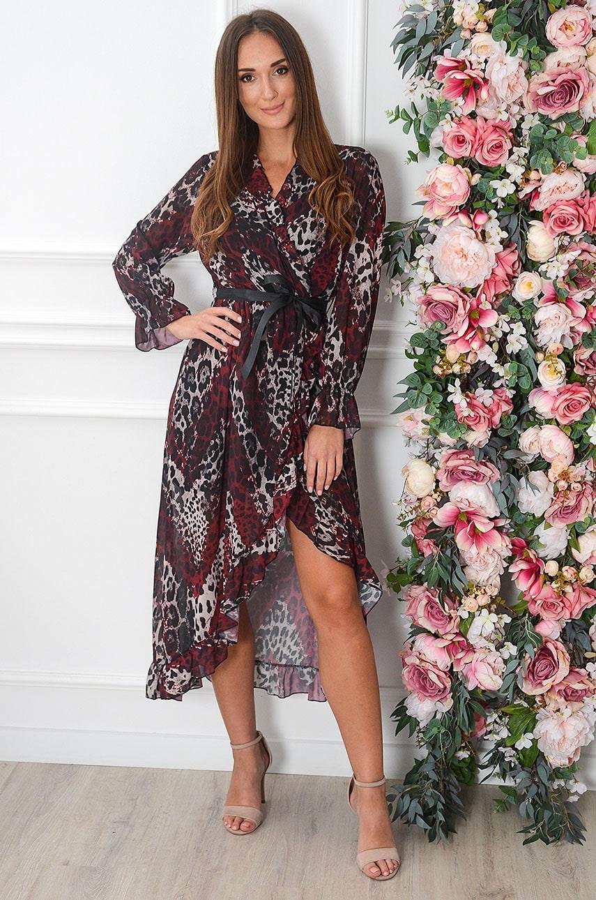 Sukienka midi szyfonowa kopertowa w panterkę bordo Zuze Rozmiar: UNI