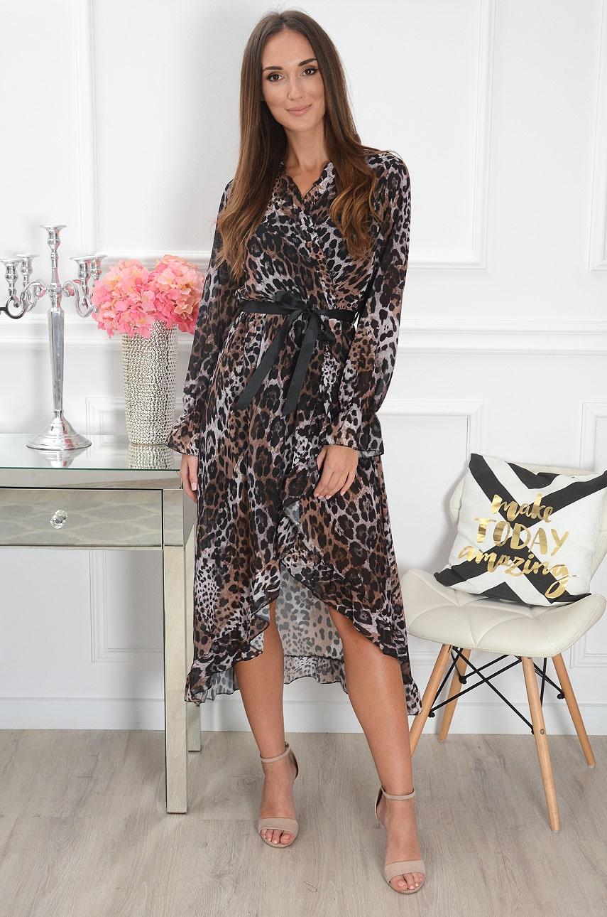 Sukienka midi szyfonowa kopertowa w panterkę brąz Zuze Rozmiar: UNI