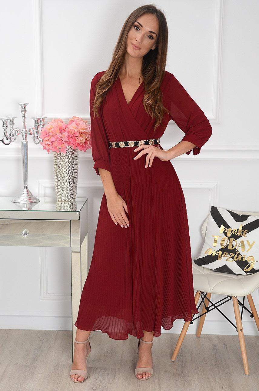 Sukienka maxi plisowana z rękawem bordo Zoja Rozmiar: UNI