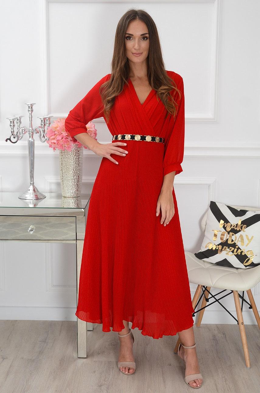 Sukienka maxi plisowana z rękawem czerwona Zoja Rozmiar: UNI