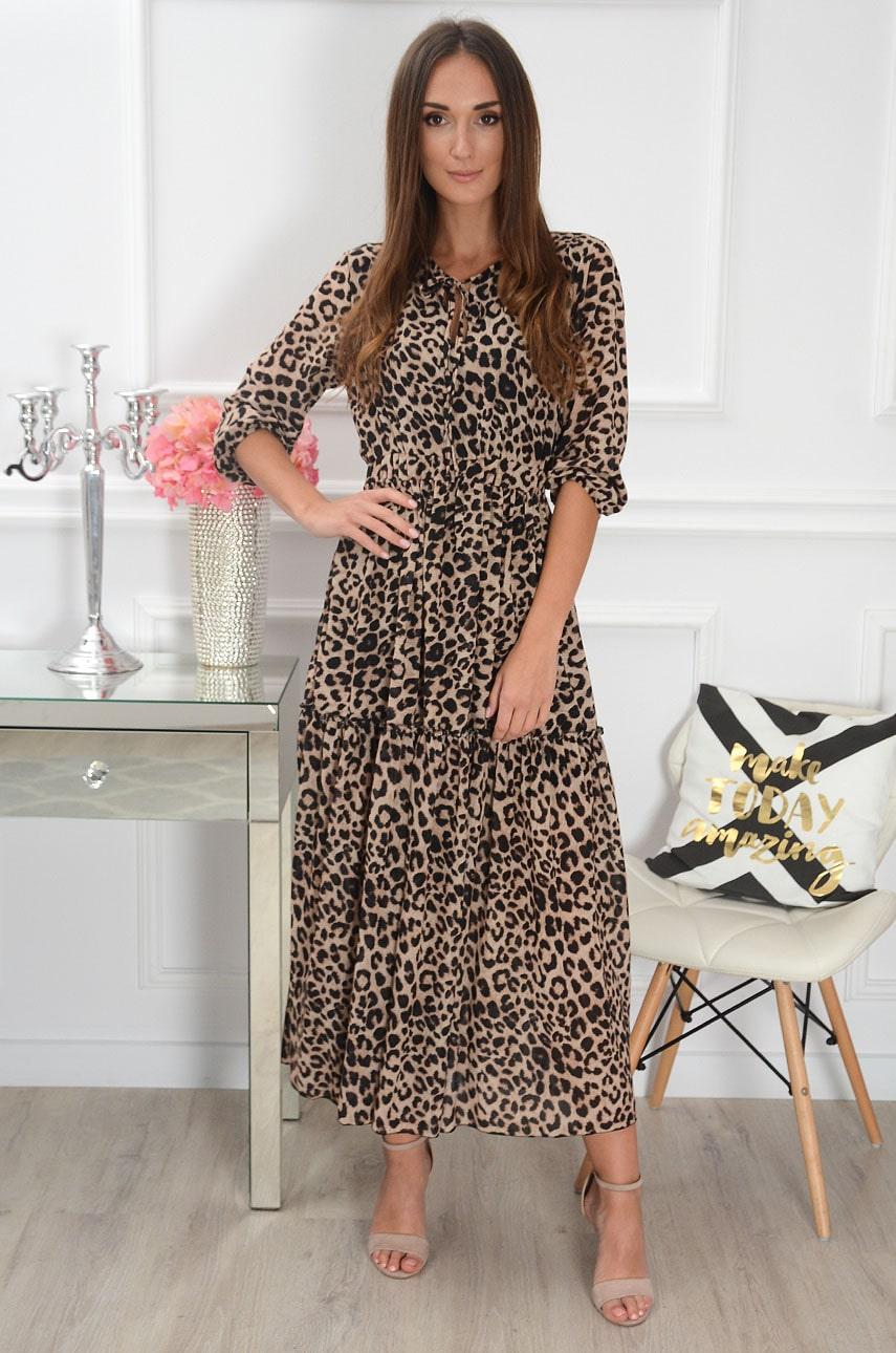 Sukienka maxi z wiązaniem w panterkę czarna-kamel Vanda Rozmiar: UNI
