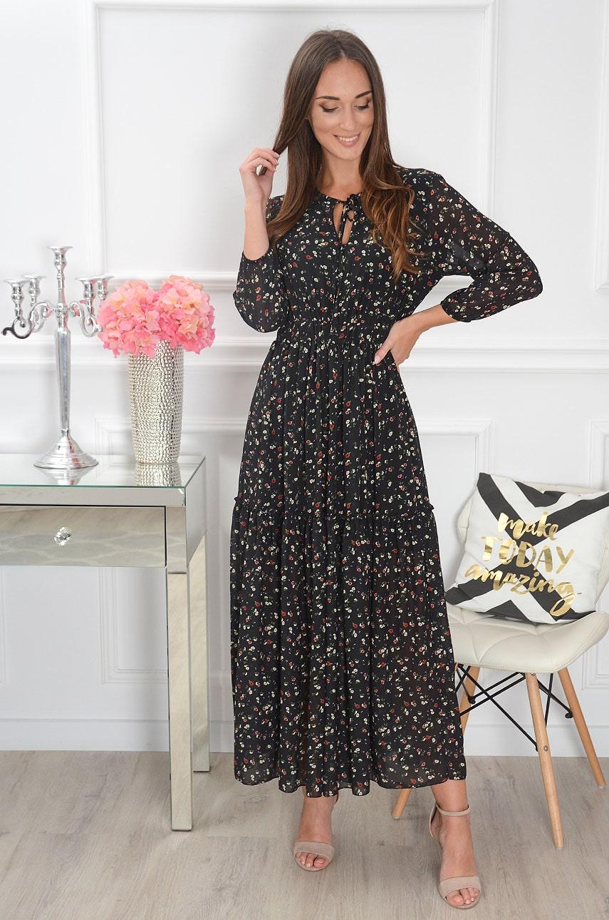 Sukienka maxi z wiązaniem w drobne kwiatuszki czarna Vanda Rozmiar: UNI