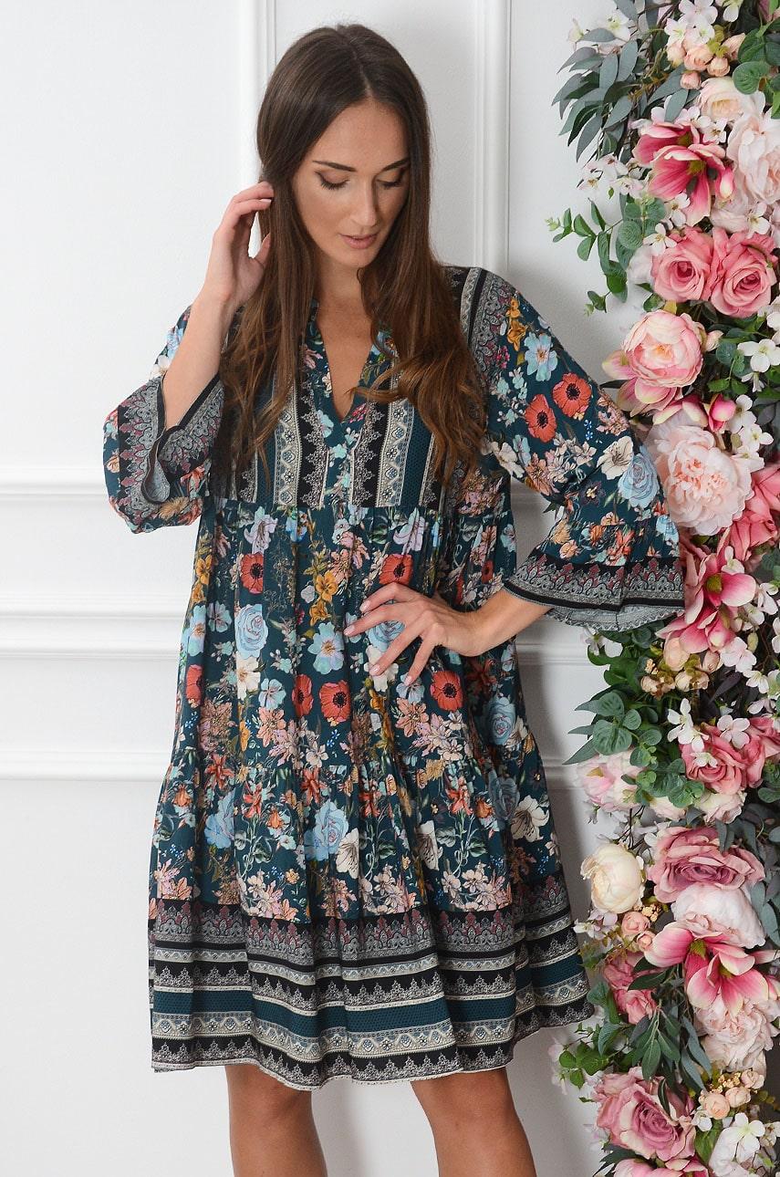 Sukienka oversize z falban w kwiaty turkus Laja Rozmiar: UNI