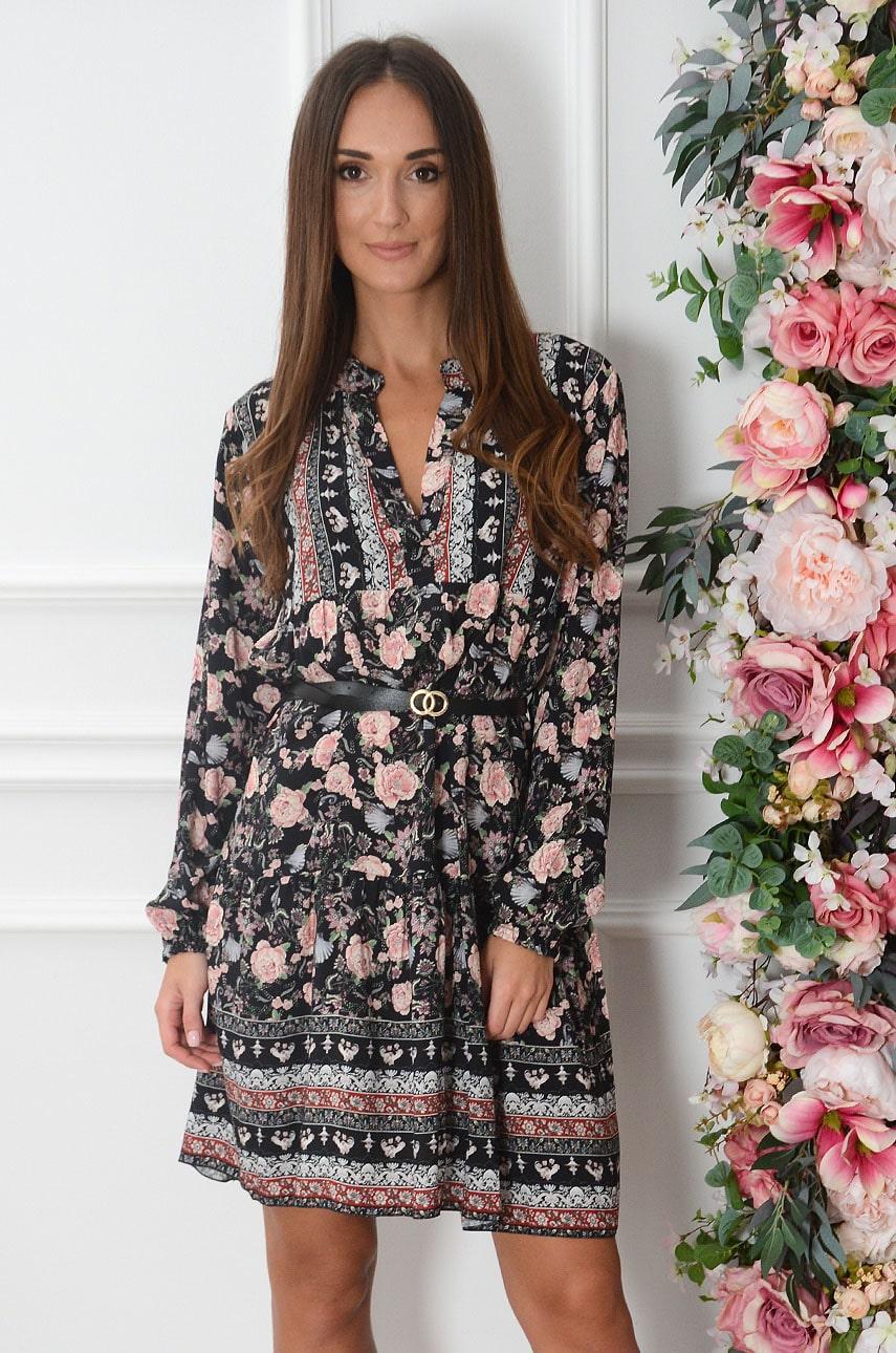 Sukienka oversize z falban we wzory czarna Marinus Rozmiar: UNI