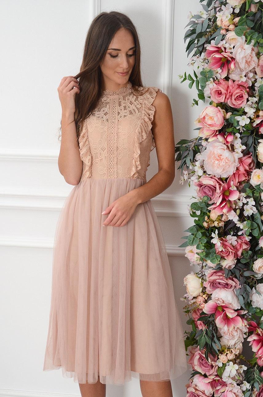 Sukienka midi z koronki i tiulu z falbanką brudny róż Teriza Rozmiar: S