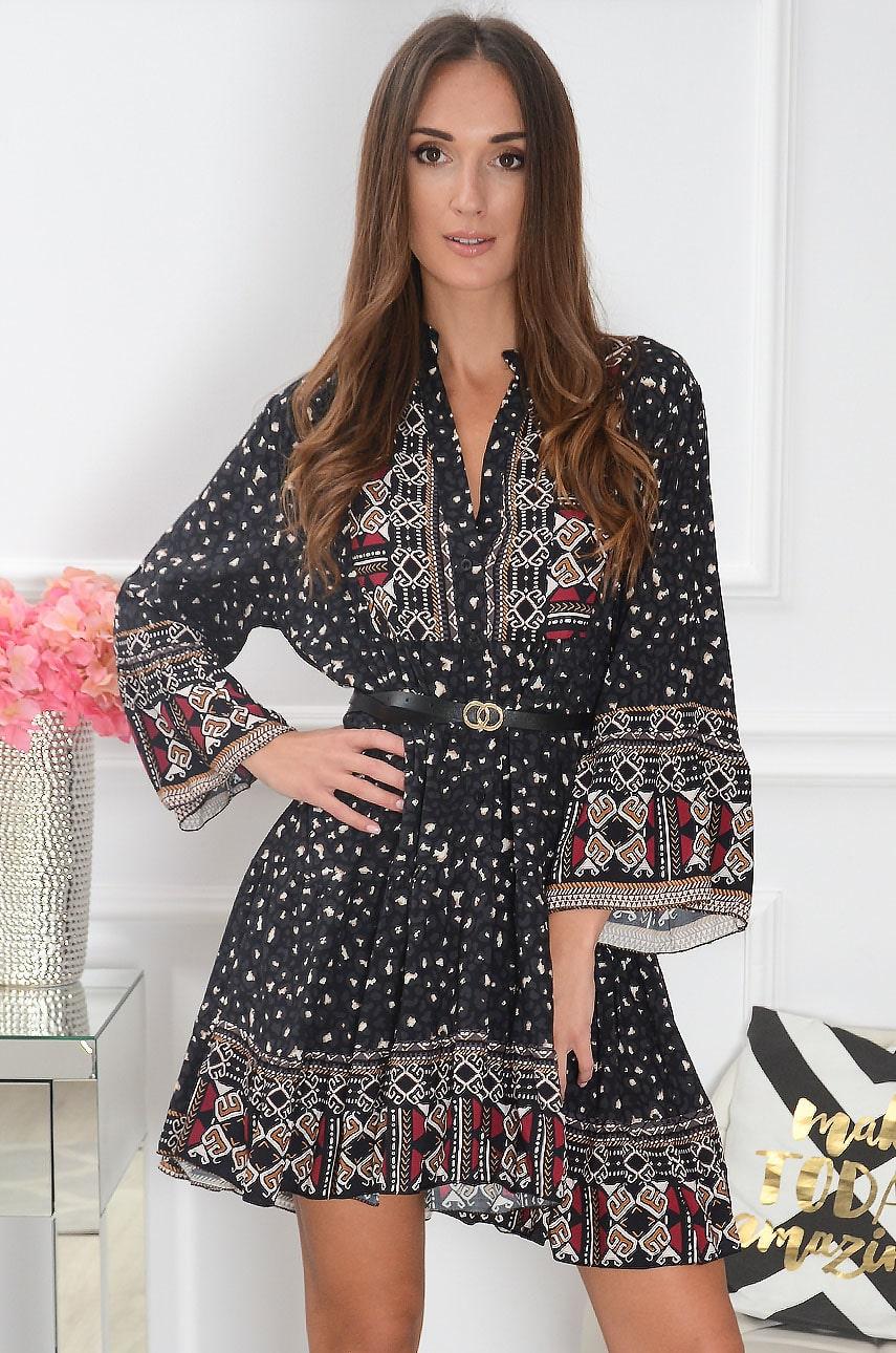 Sukienka oversize animal&etno wzór czarna Dobia Rozmiar: UNI