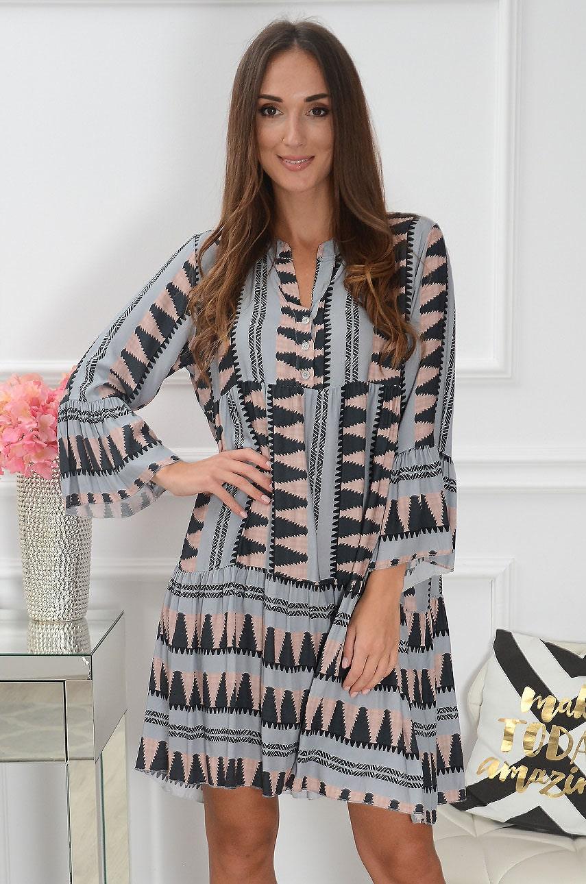 Sukienka oversize we wzory pudrowo-szara Cubba Rozmiar: UNI