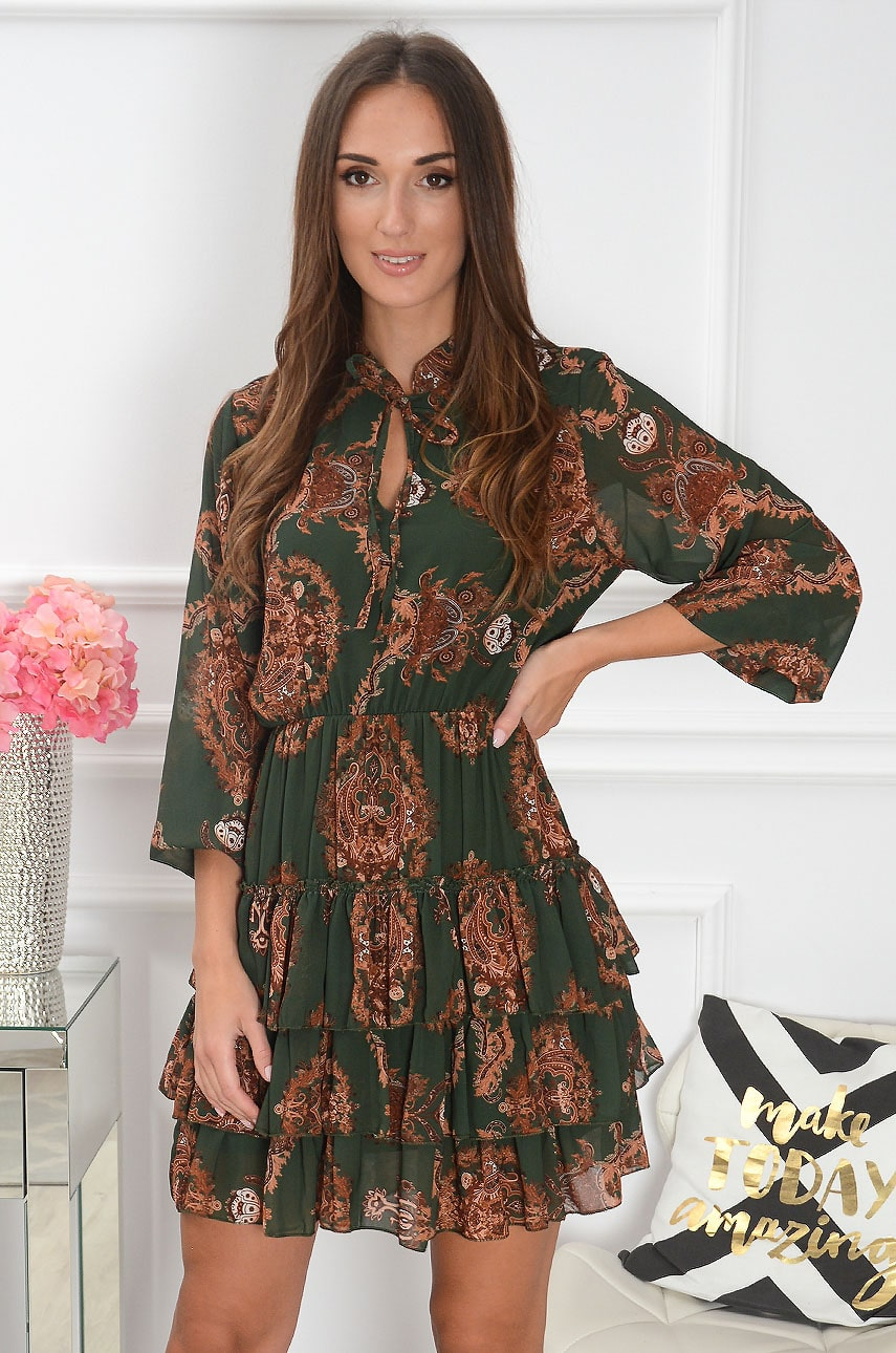 Sukienka z falbankami i wiązaniem w etno wzory zieleń Magli Rozmiar: UNI