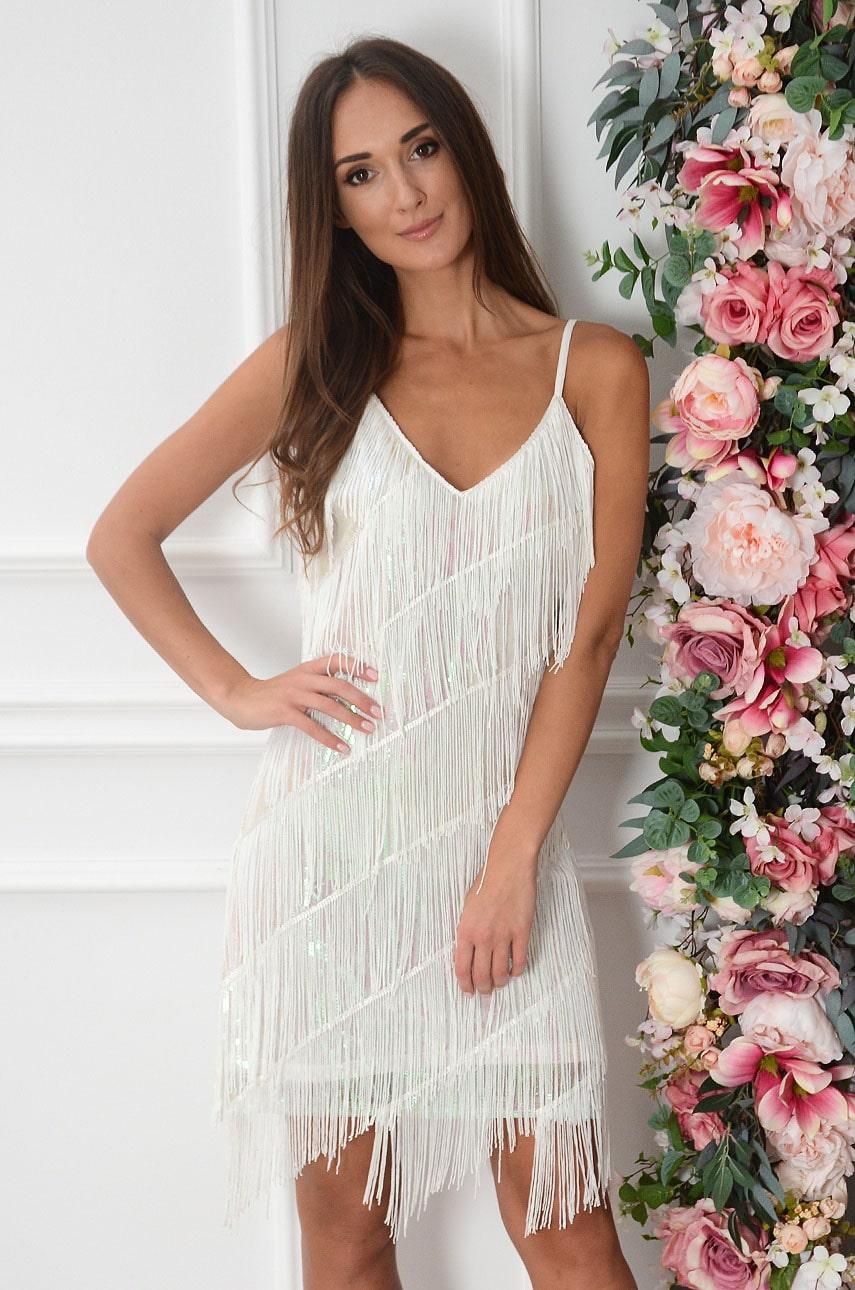 Sukienka cekinowa z frędzlami biała Shine Rozmiar: UNI