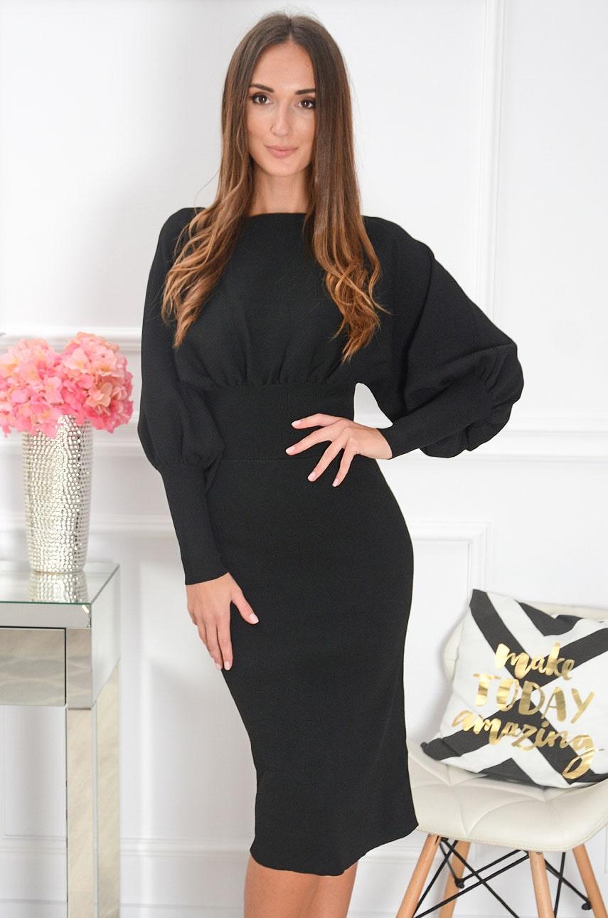 Sukienka midi z oversizową górą czarna Faustine Rozmiar: UNI