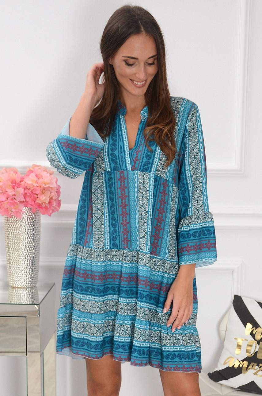 Sukienka oversize we wzory turkus Boulia Rozmiar: UNI