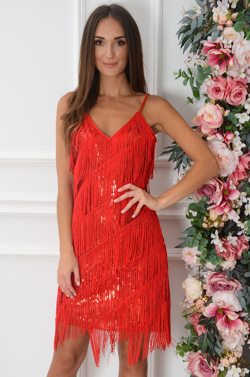 Sukienka cekinowa z frędzlami czerwona Shine Rozmiar: UNI