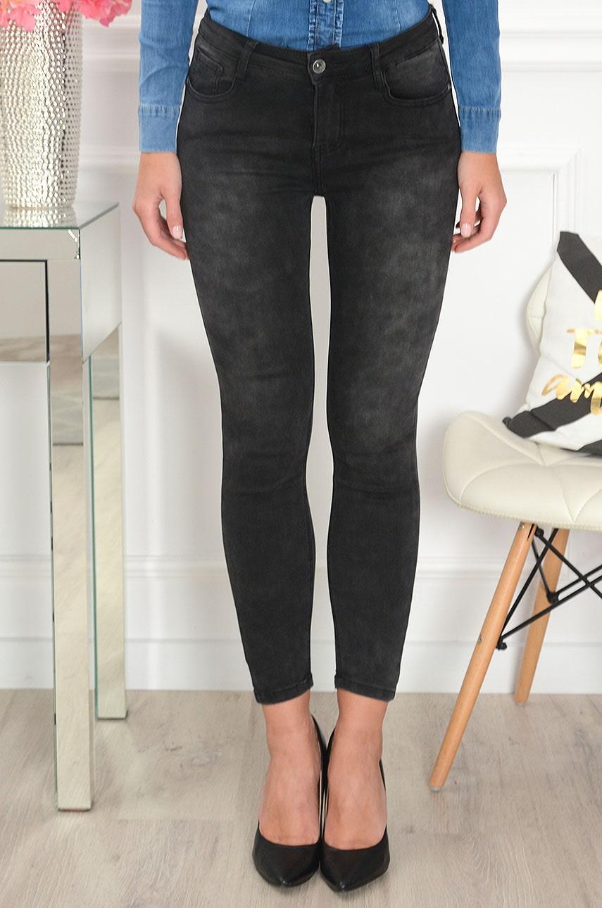 Spodnie jeansowe push-up z zipami grafit Gidon Rozmiar: L