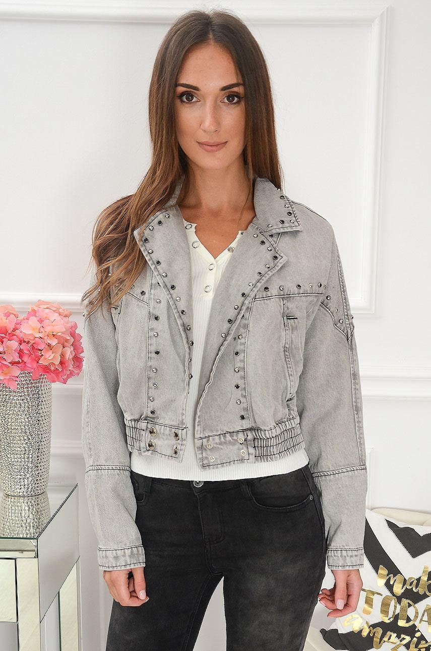 Krótka kurtka jeans vintage z ćwiekami szara Toledo Rozmiar: S