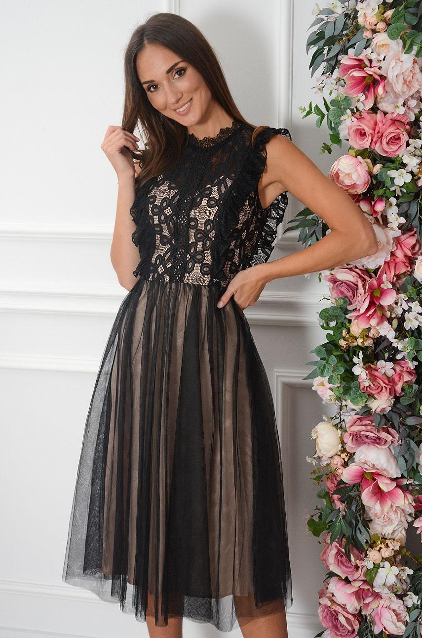 Sukienka midi z koronki i tiulu z falbanką czarno-beżowa Teriza Rozmiar: S