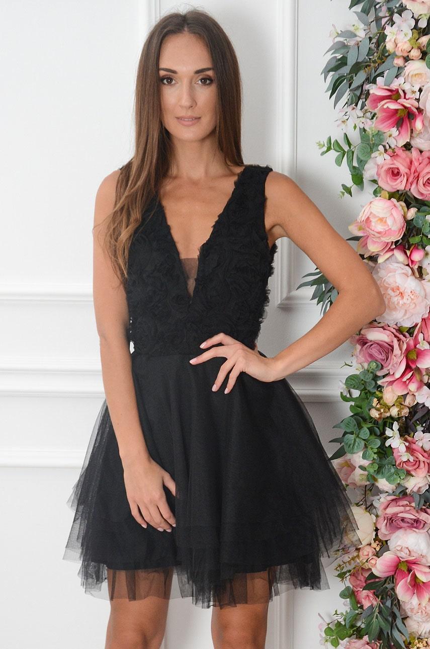Sukienka z tiulu kwiatuszki 3D czarna Sabina Rozmiar: S