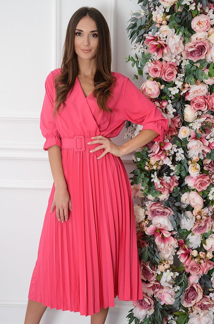 Sukienka midi plisowana z paskiem fuksja Pavetta New Rozmiar: UNI