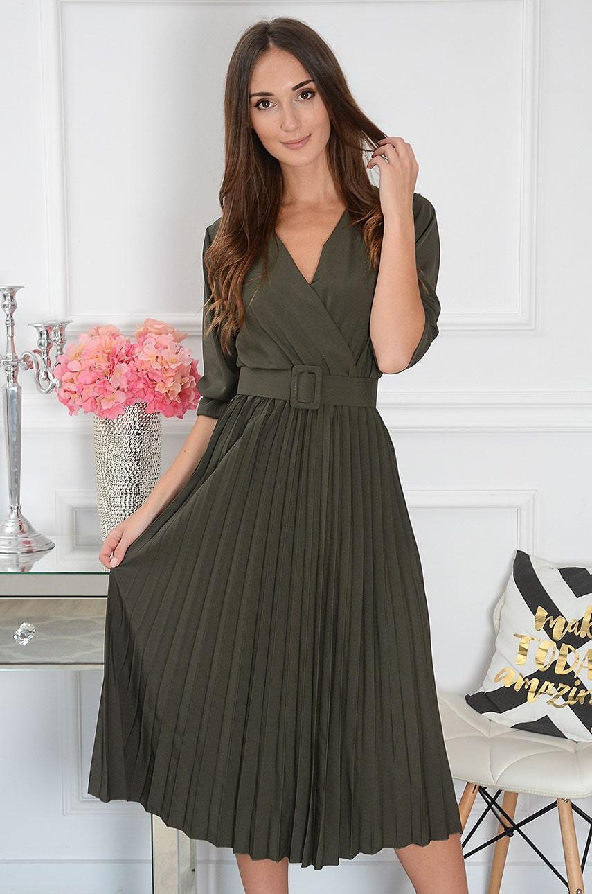 Sukienka midi plisowana z paskiem khaki Pavetta New Rozmiar: UNI