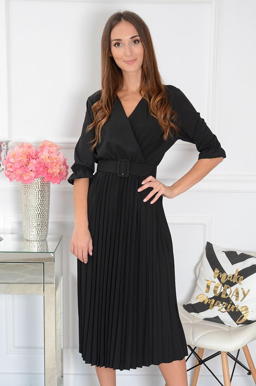 Sukienka midi plisowana z paskiem czarna Pavetta New Rozmiar: UNI
