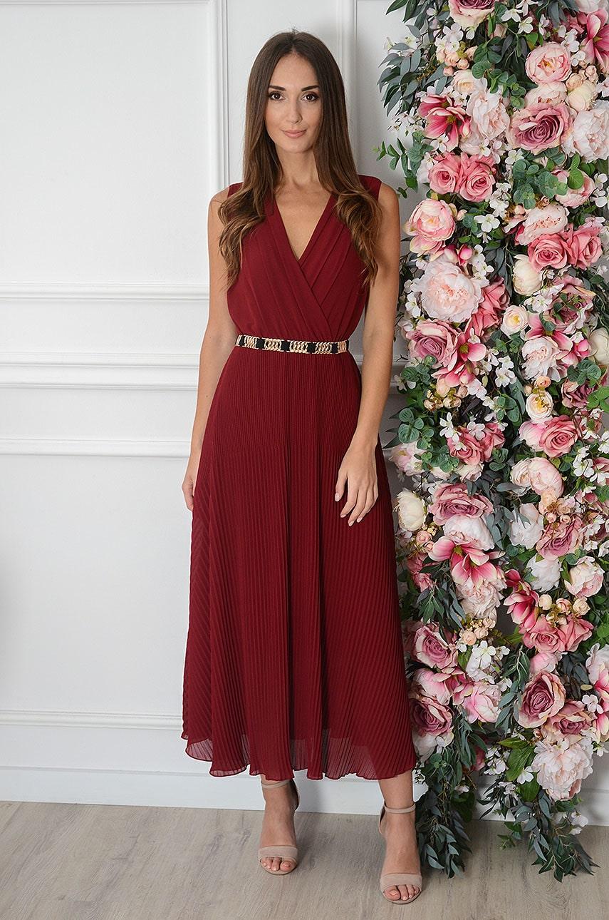Sukienka maxi plisowana bordo Zoja Rozmiar: UNI