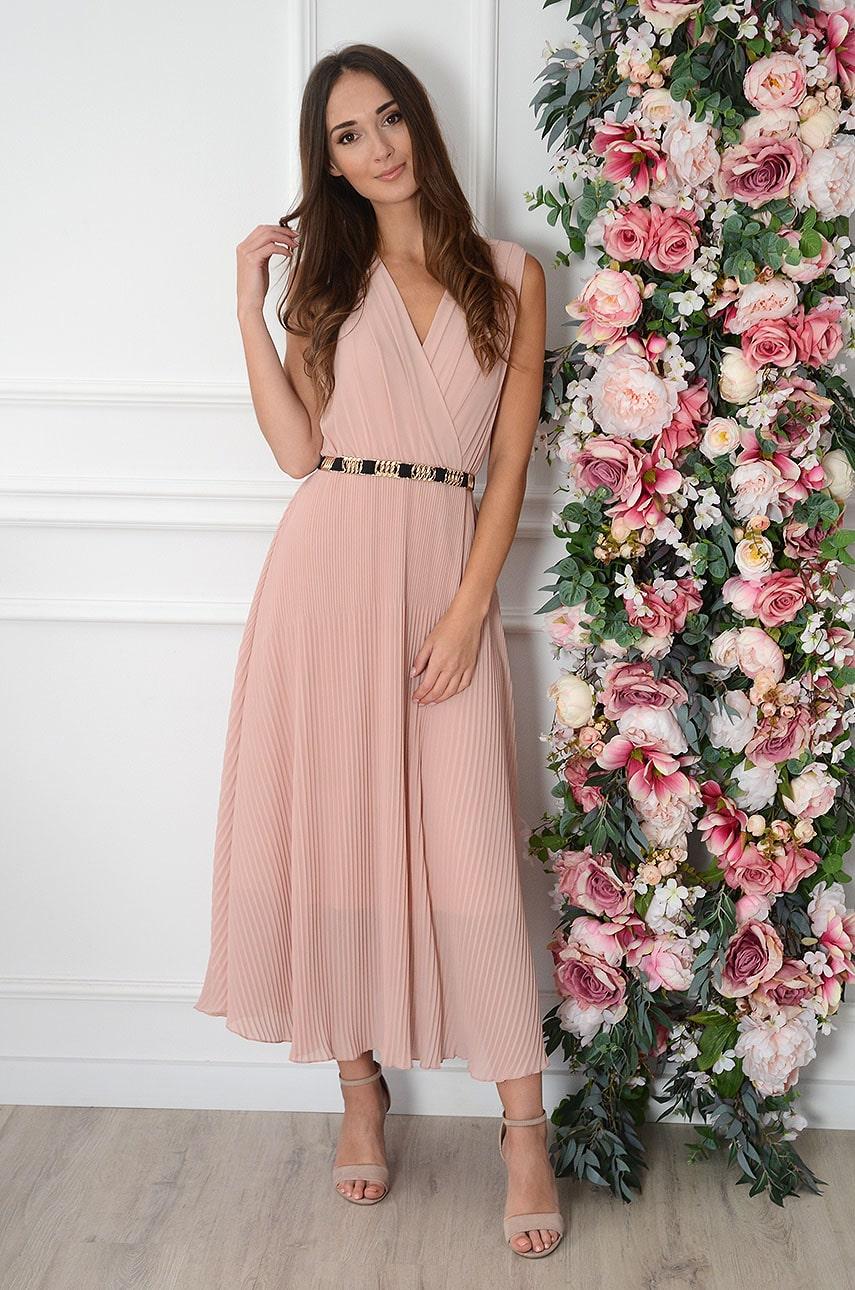 Sukienka maxi plisowana pudrowy róż Zoja Rozmiar: UNI