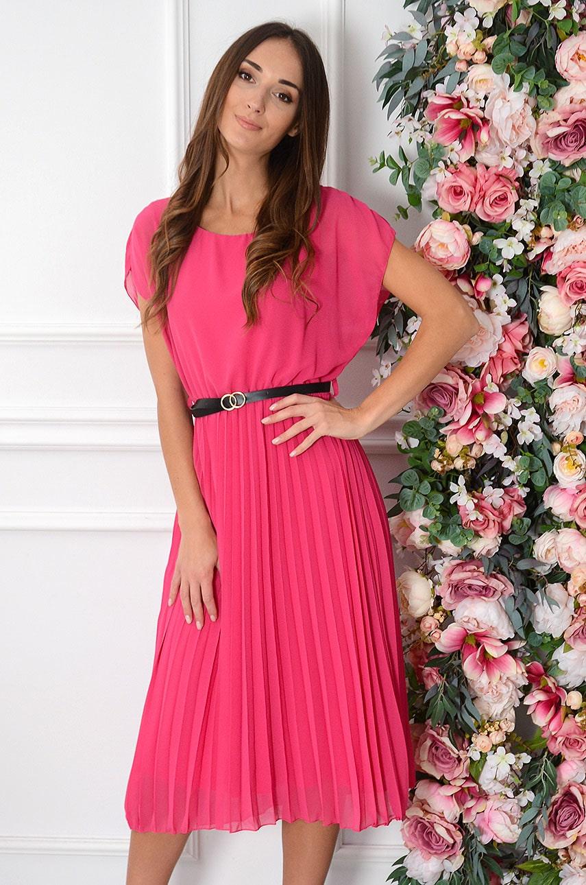 Sukienka szyfonowa midi plisowana z paskiem fuksja Paloma Rozmiar: UNI