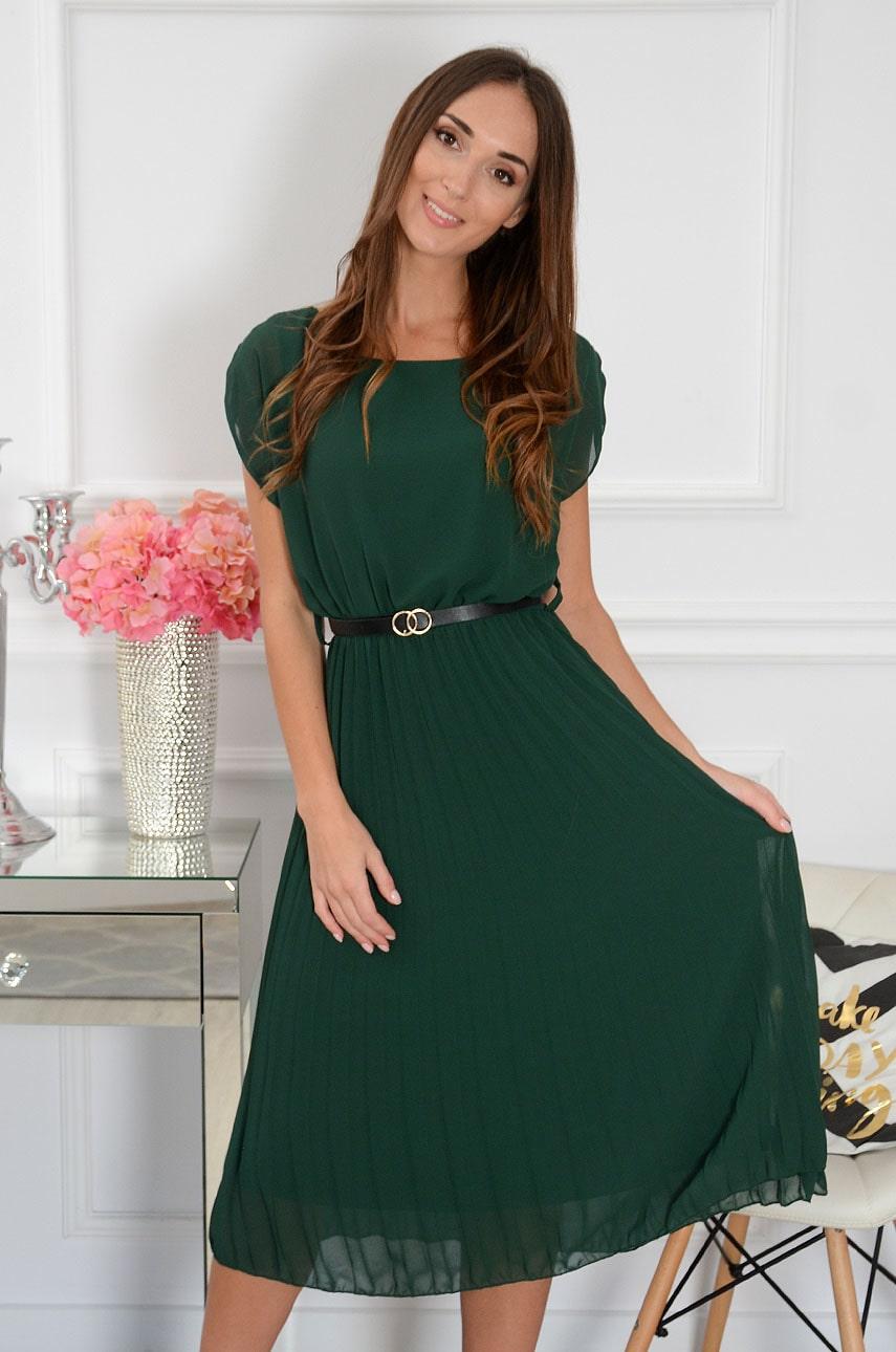 Sukienka szyfonowa midi plisowana z paskiem ciemna zieleń Paloma Rozmiar: UNI