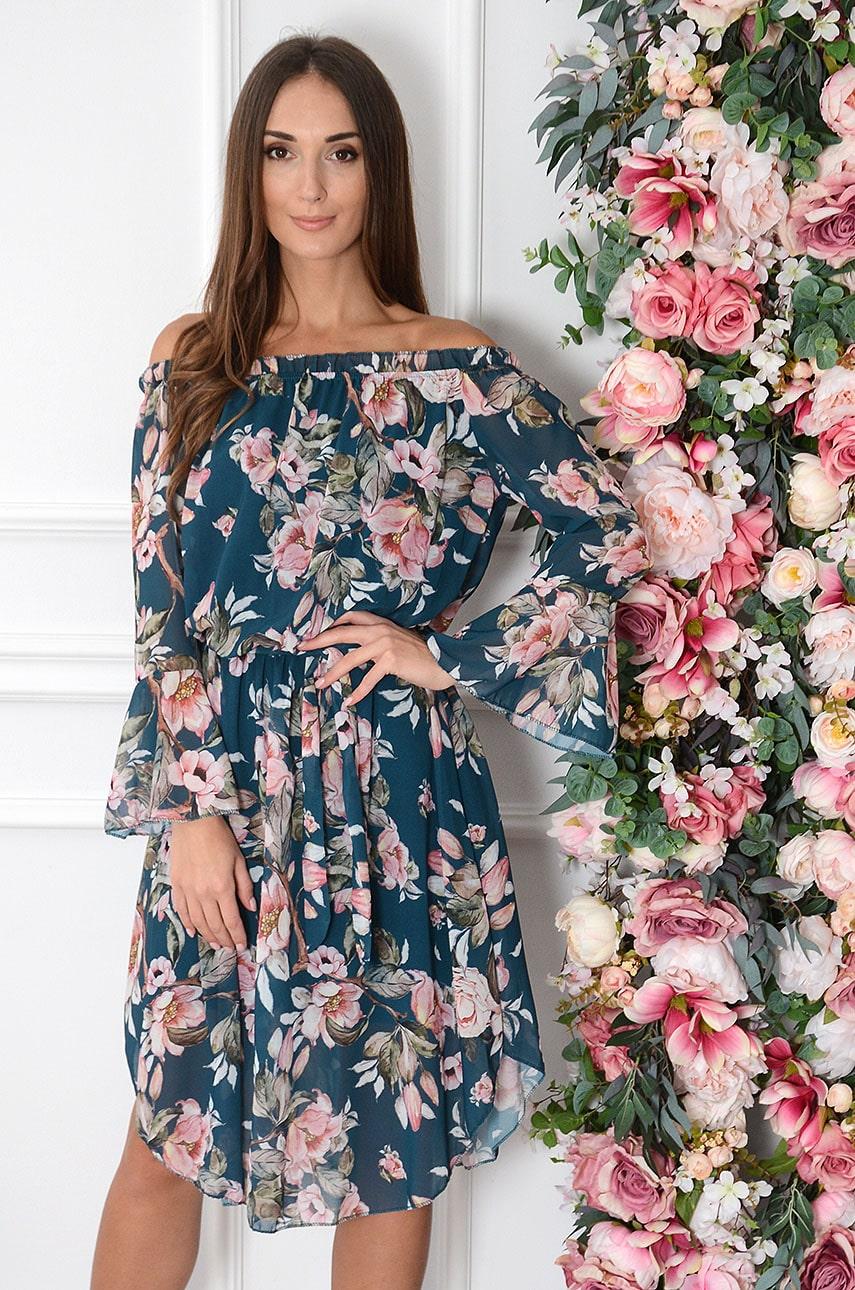 Sukienka hiszpanka midi w duże kwiaty turkus Abba Rozmiar: UNI