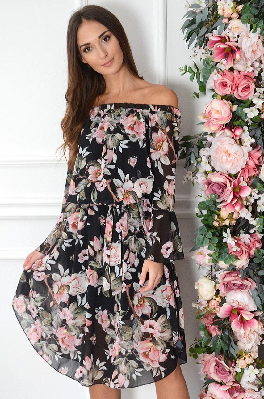 Sukienka hiszpanka midi w duże kwiaty czarna Abba Rozmiar: UNI