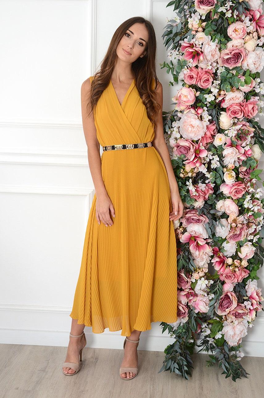 Sukienka maxi plisowana musztardowa Zoja Rozmiar: UNI