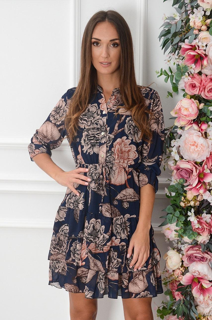 Sukienka szyfonowa z falbankami w kwiaty granat Lorica Rozmiar: UNI