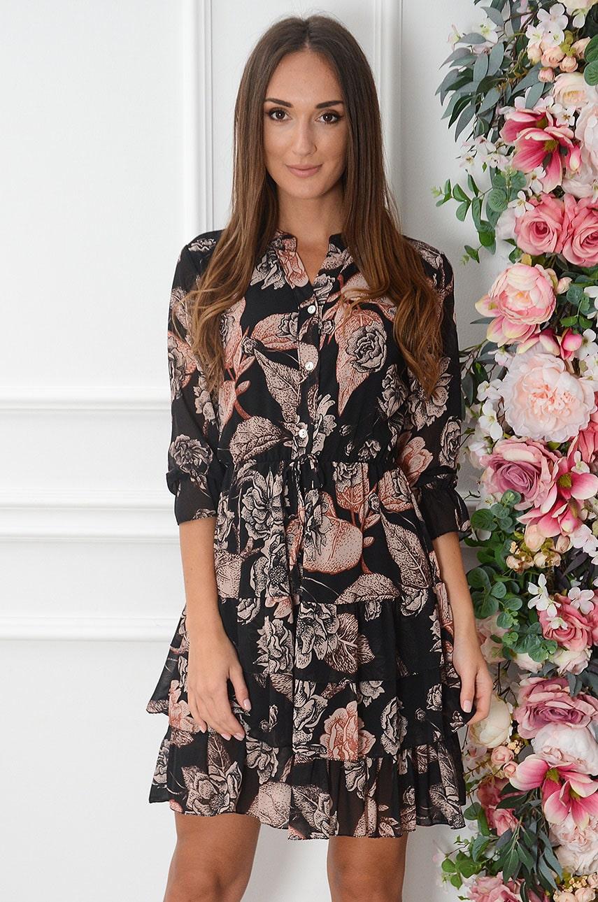 Sukienka szyfonowa z falbankami w kwiaty czarna Lorica Rozmiar: UNI