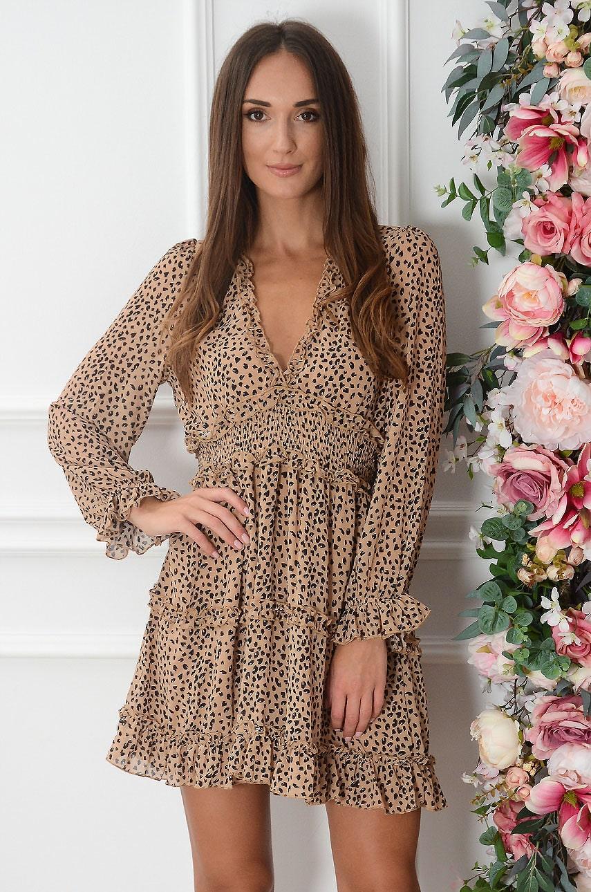 Sukienka szyfonowa w cętki z falbankami kamel Marfa Rozmiar: L