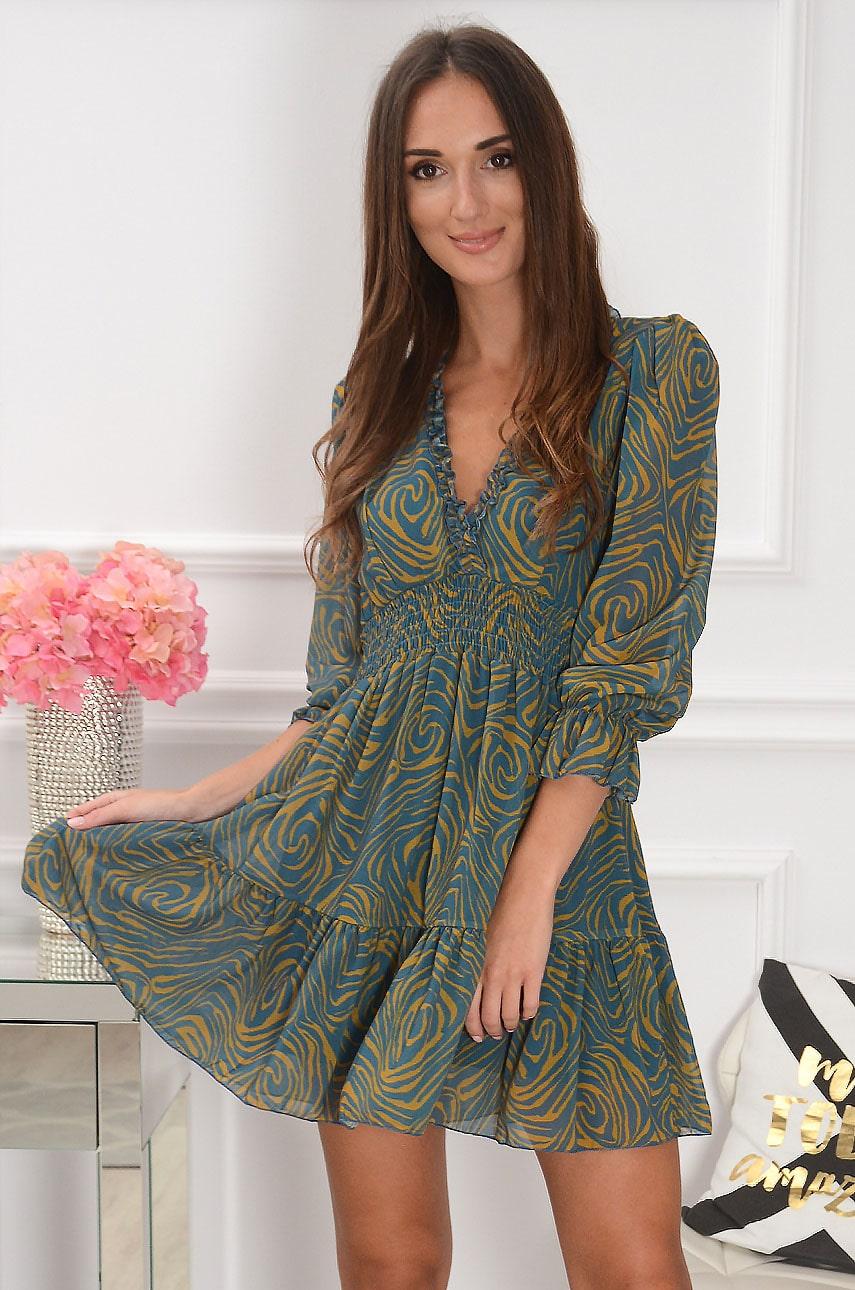 Sukienka szyfonowa we wzory z falbanką turkus-musztarda Selaya Rozmiar: UNI