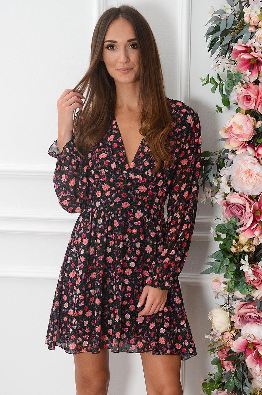 Sukienka szyfonowa w różowe kwiaty czarna Morelia Rozmiar: UNI