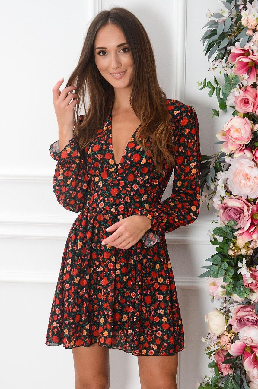 Sukienka szyfonowa w czerwone kwiaty czarna Morelia Rozmiar: UNI