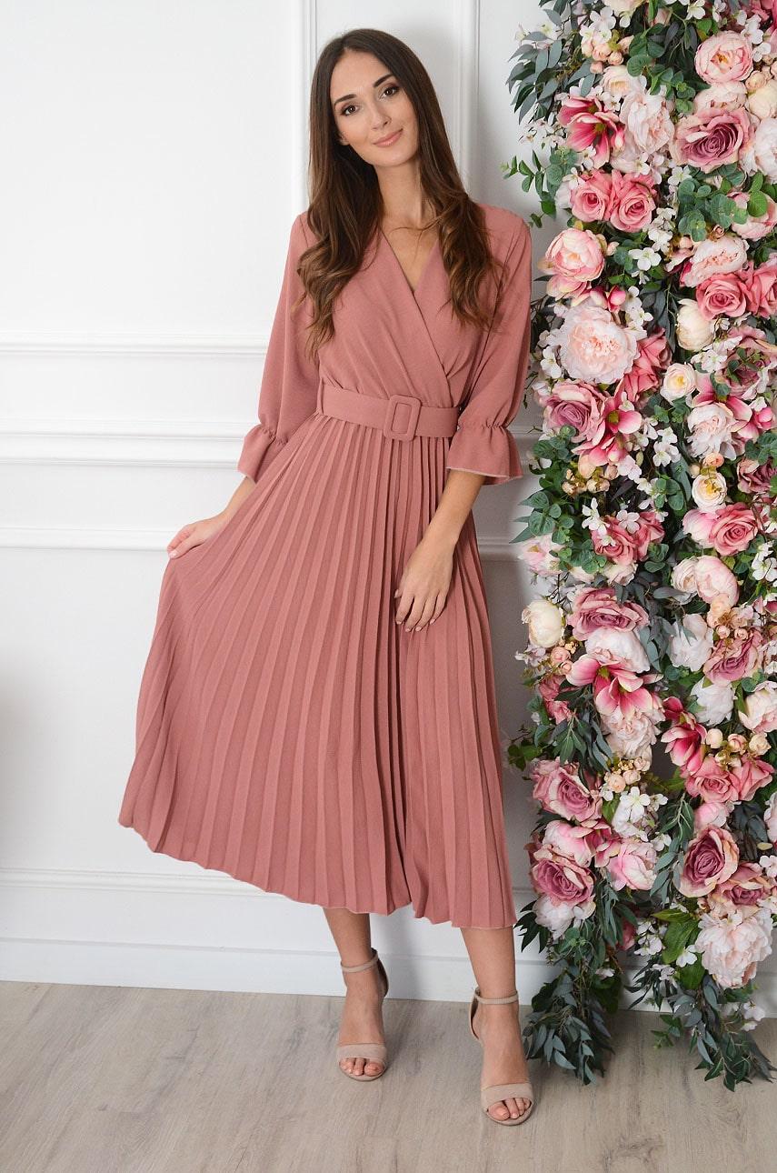 Sukienka maxi plisowana z paskiem róż indyjski Nevada Rozmiar: UNI