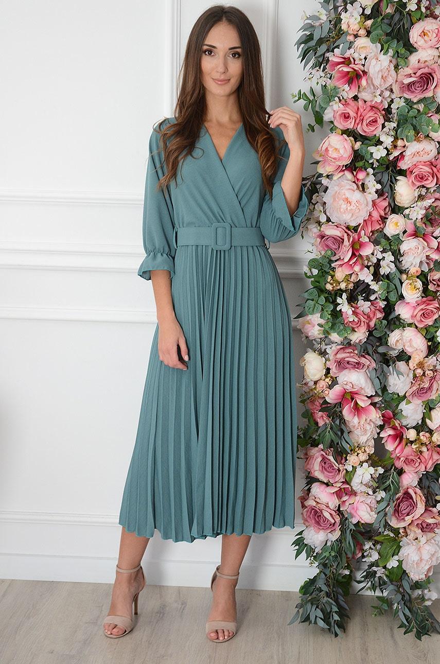 Sukienka maxi plisowana z paskiem turkus Nevada Rozmiar: UNI