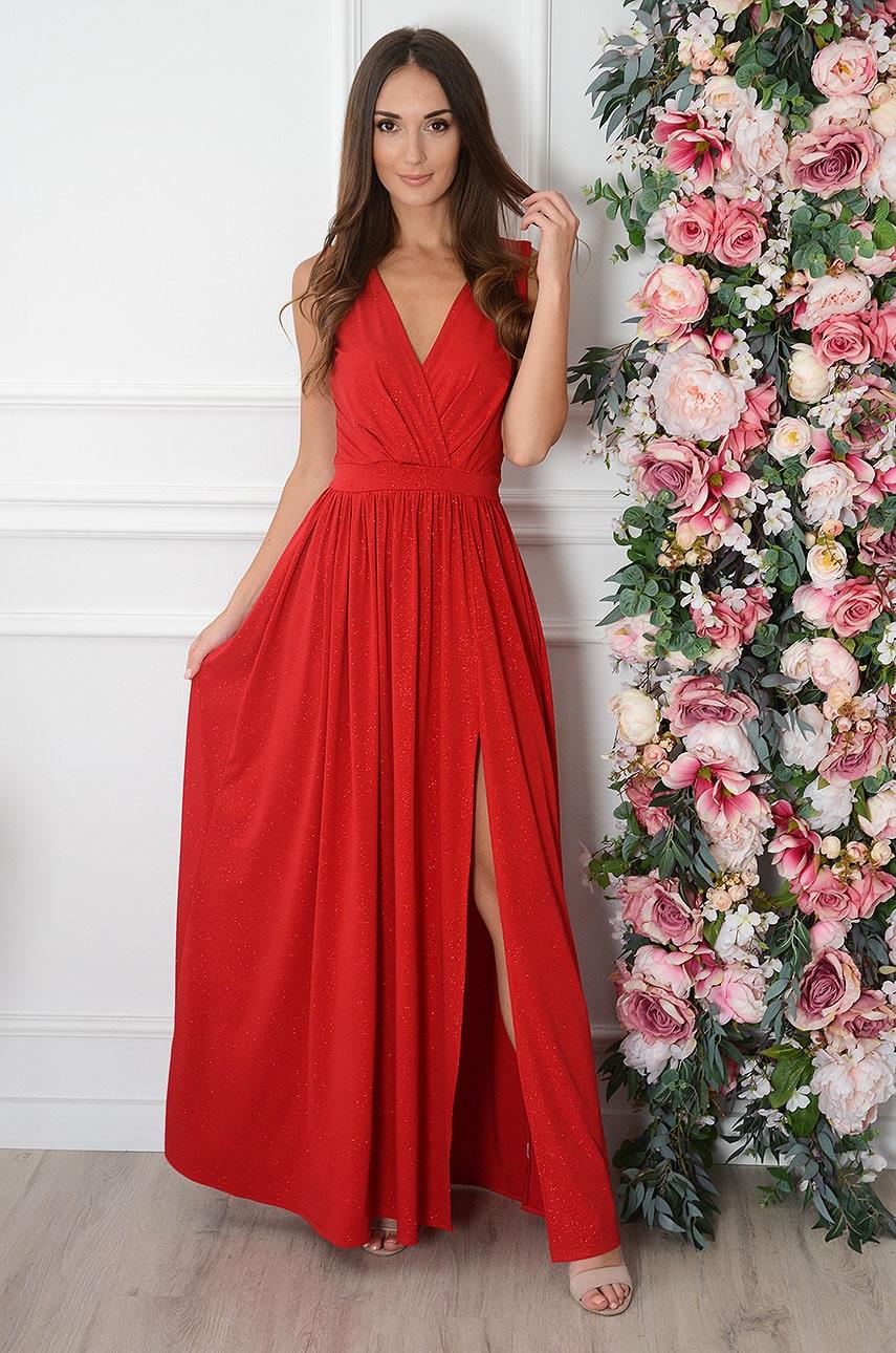 Sukienka maxi brokatowa czerwona Lukrecja Rozmiar: XS