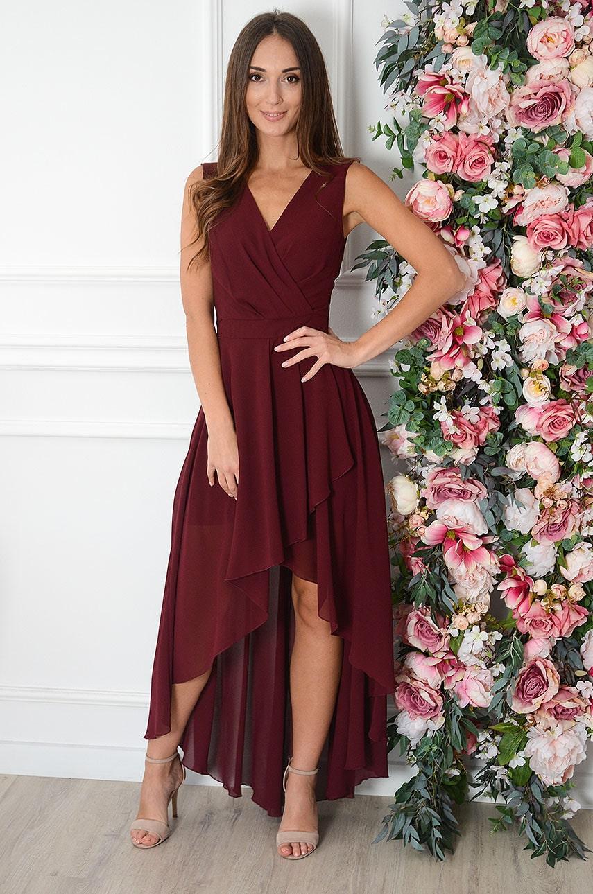Sukienka maxi szyfonowa asymetryczna burgund Ottavia Rozmiar: S